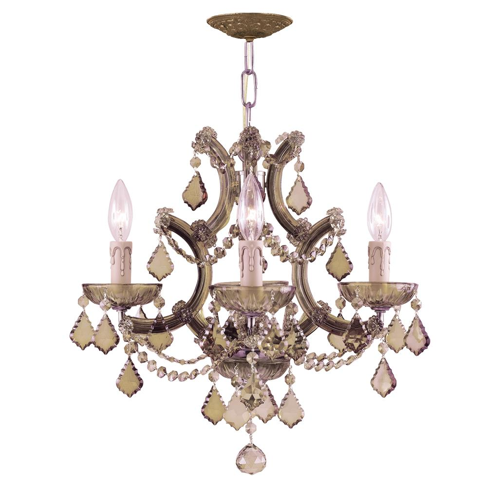 Crystorama Lighting 4474-AB-GT-MWP Maria Theresa 4 Light Golden Teak Crystal Brass Mini Chandelier