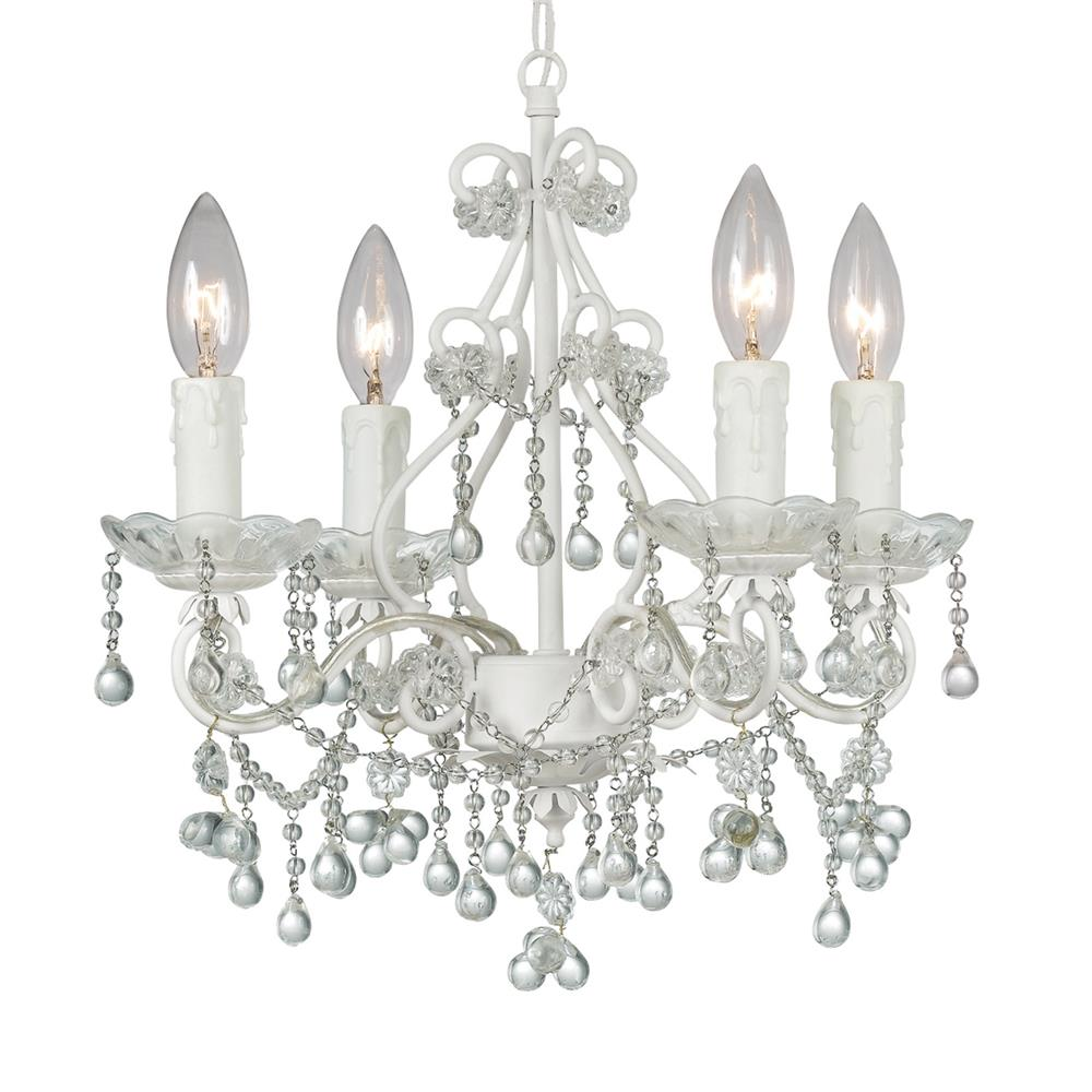 Crystorama Lighting 4514-WW-CLEAR Paris Market 4 Light Clear Crystal White Mini Chandelier
