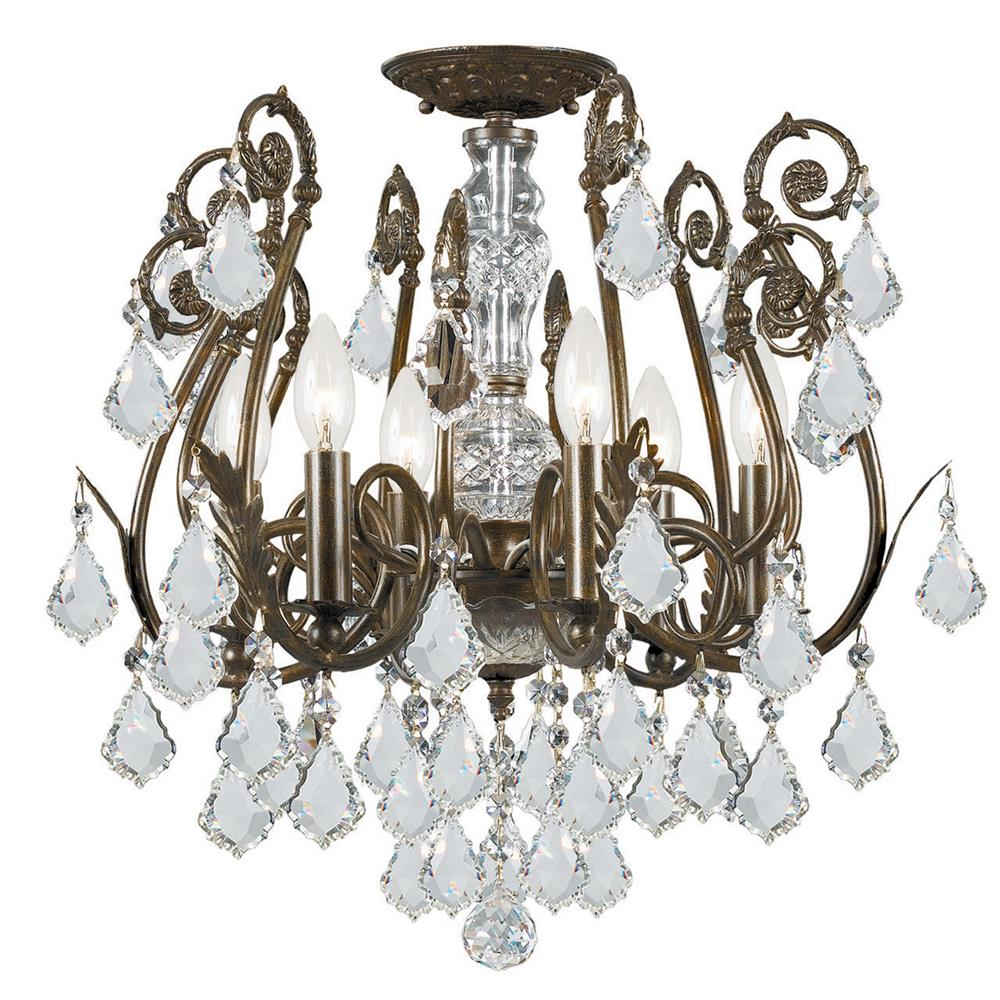 Crystorama Lighting 5115-EB-CL-MWP Regis 6 Light Clear Hand Cut Crystal Semi-Flush