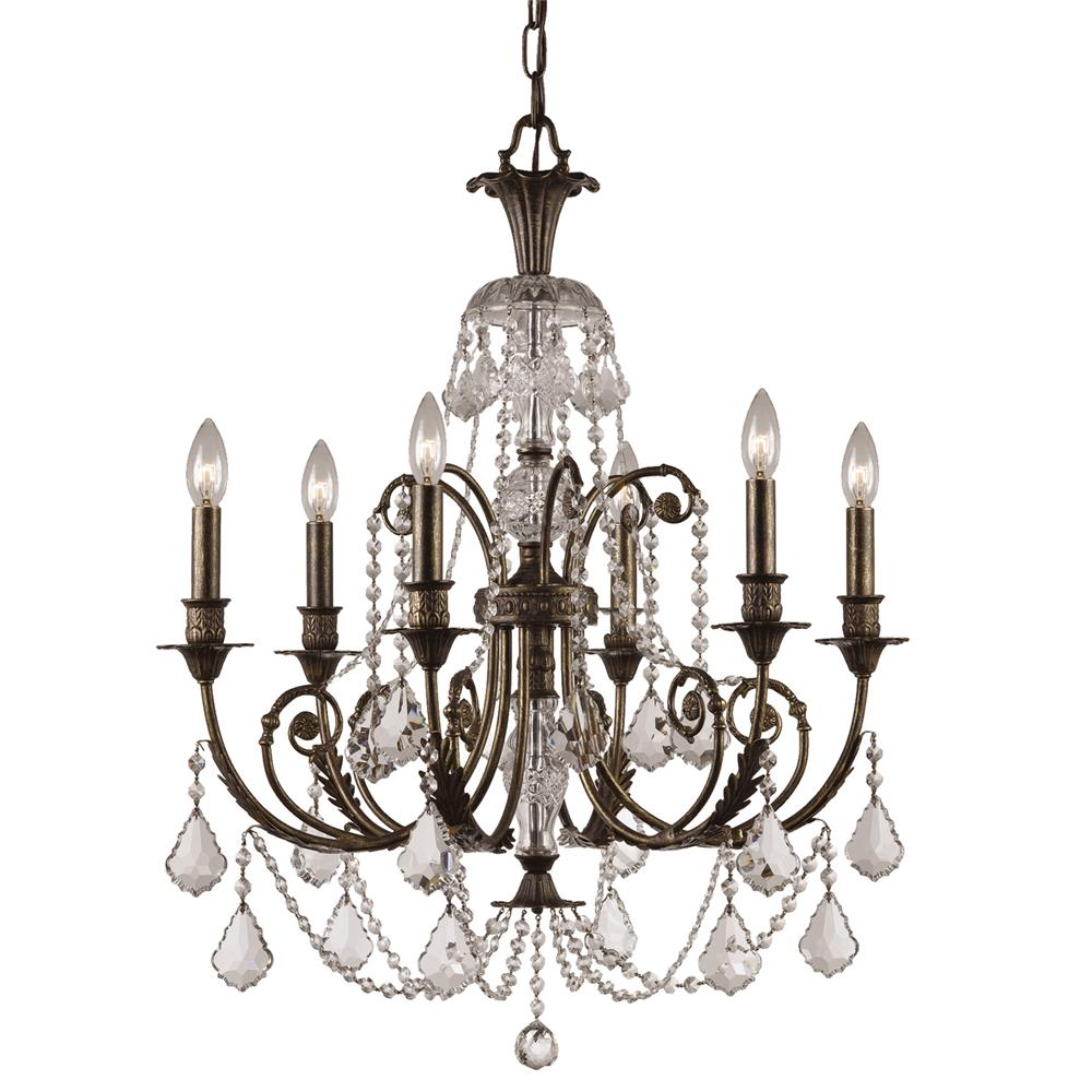 Crystorama Lighting 5116-EB-CL-MWP Regis 6 Light Clear Crystal Bronze Chandelier