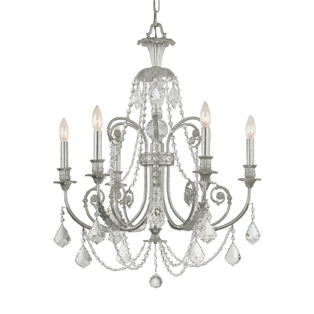 Crystorama Lighting 5116-OS-CL-MWP Regis 6 Light Clear Crystal Silver Chandelier