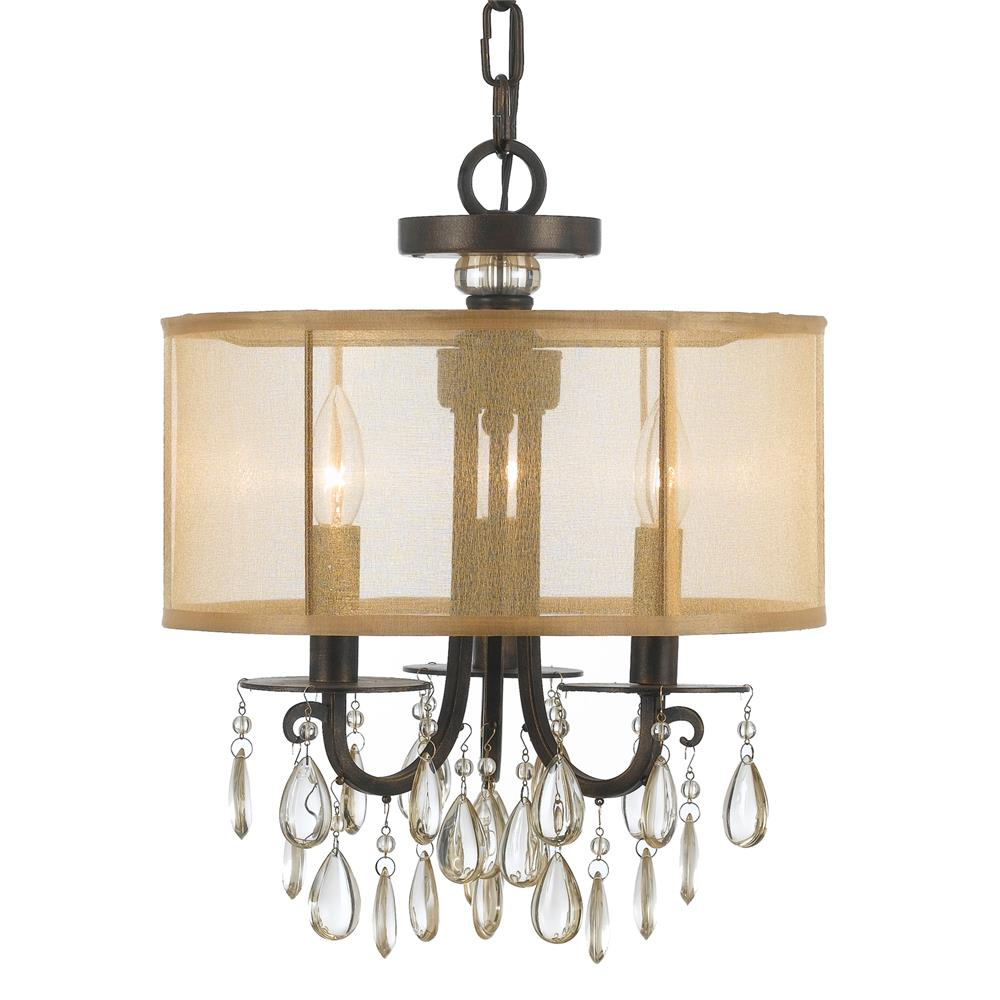 Crystorama Lighting 5623-EB Hampton 3 Light Bronze Etruscan Crystal Drum Shade Chandelier