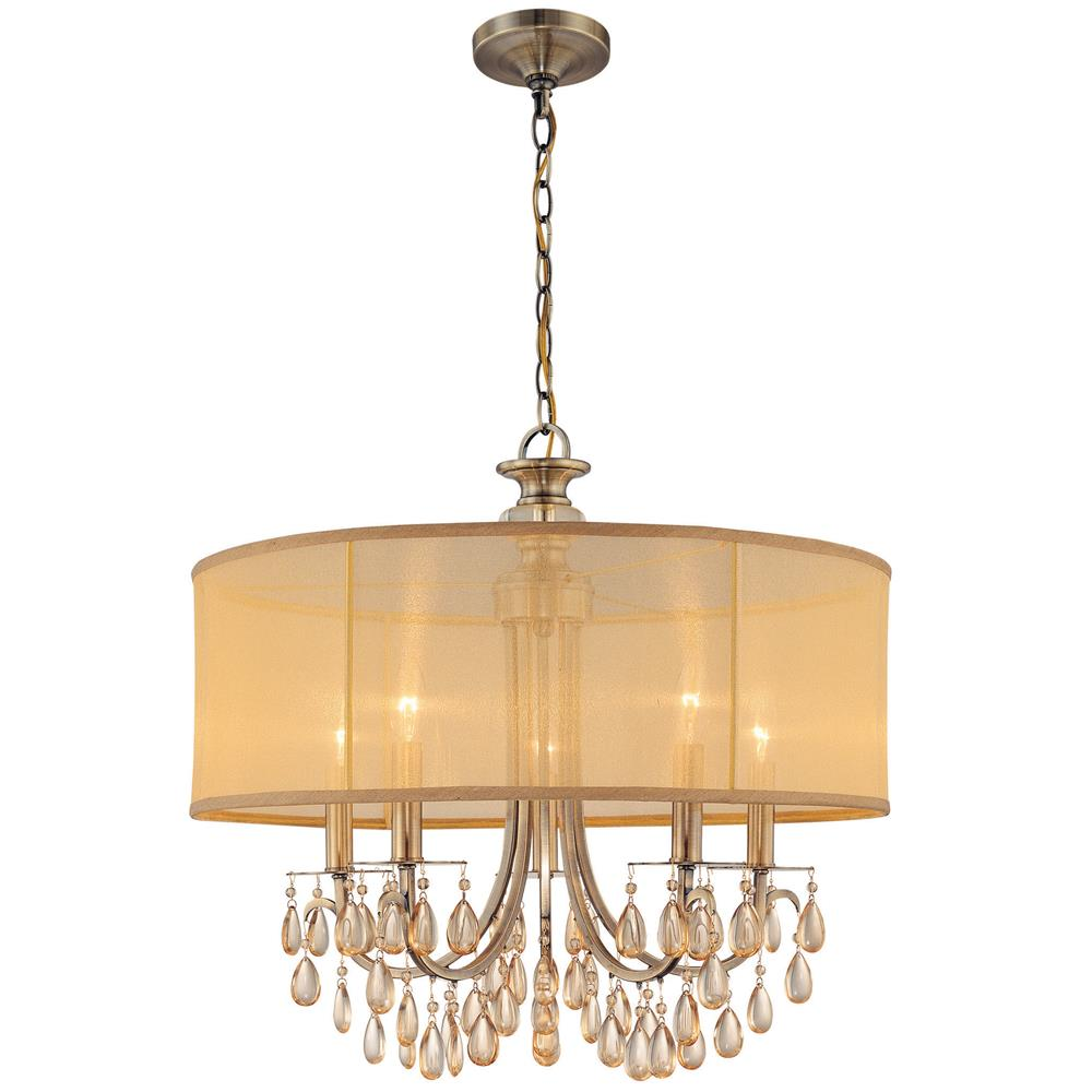 Crystorama Lighting 5625-AB Hampton 5 Light Drum Shade Brass Chandelier
