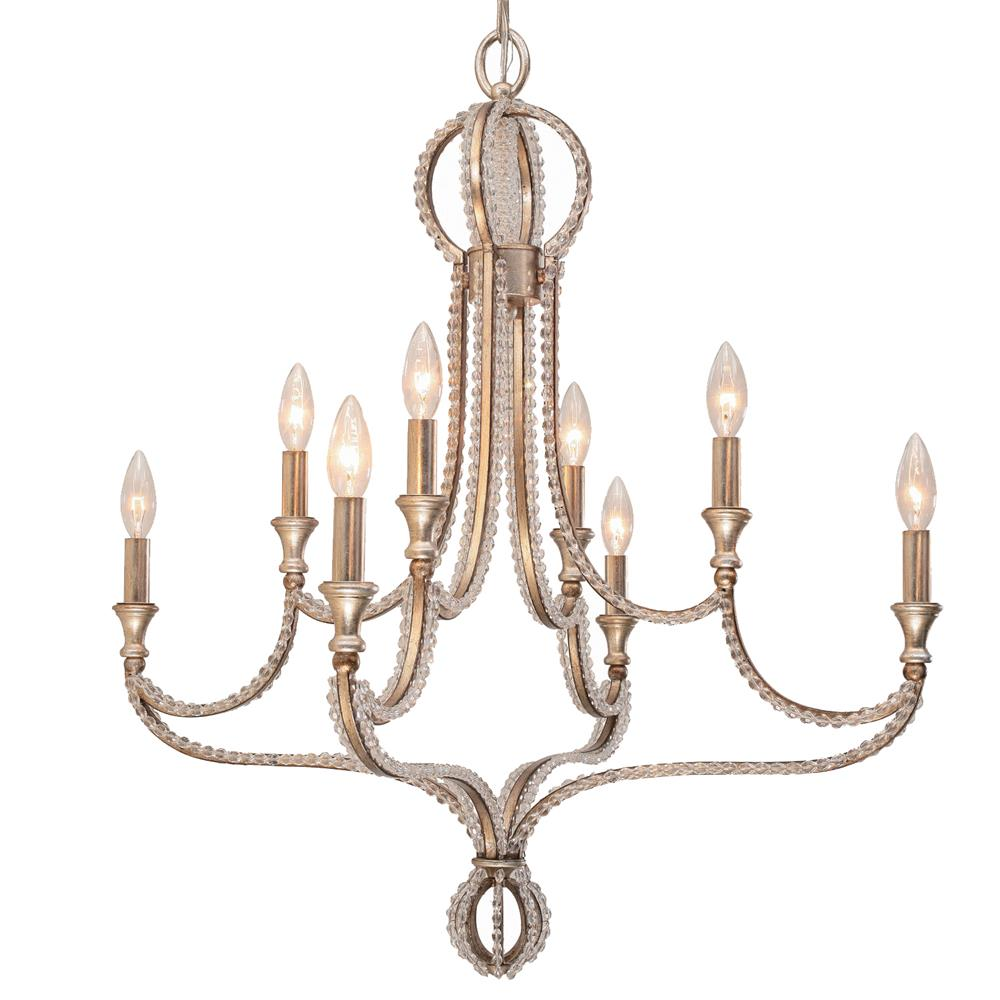Crystorama Lighting 6768-DT Garland 8 Light Crystal Bead Chandelier