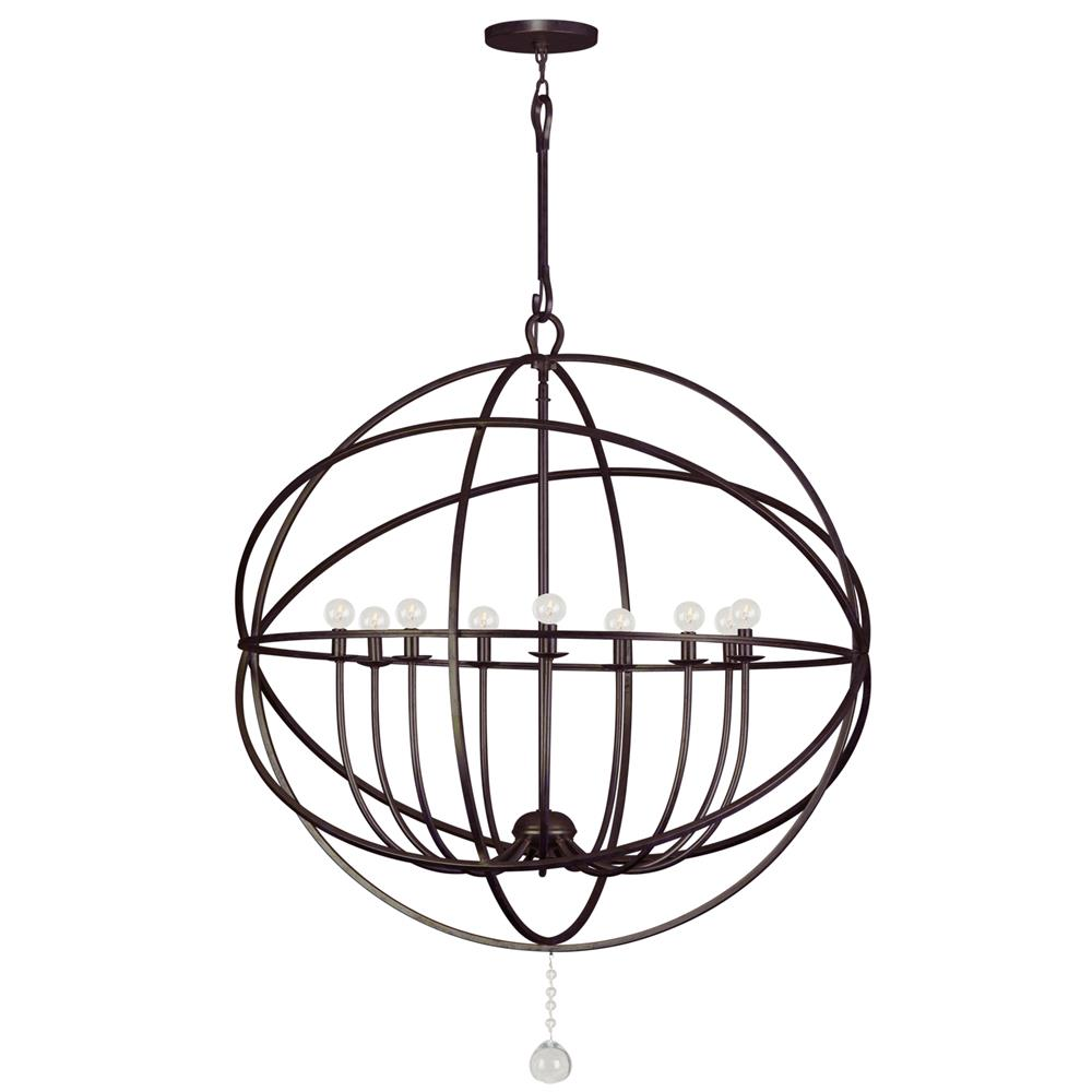 Crystorama Lighting 9229-EB Solaris 9 Light Bronze Sphere Chandelier