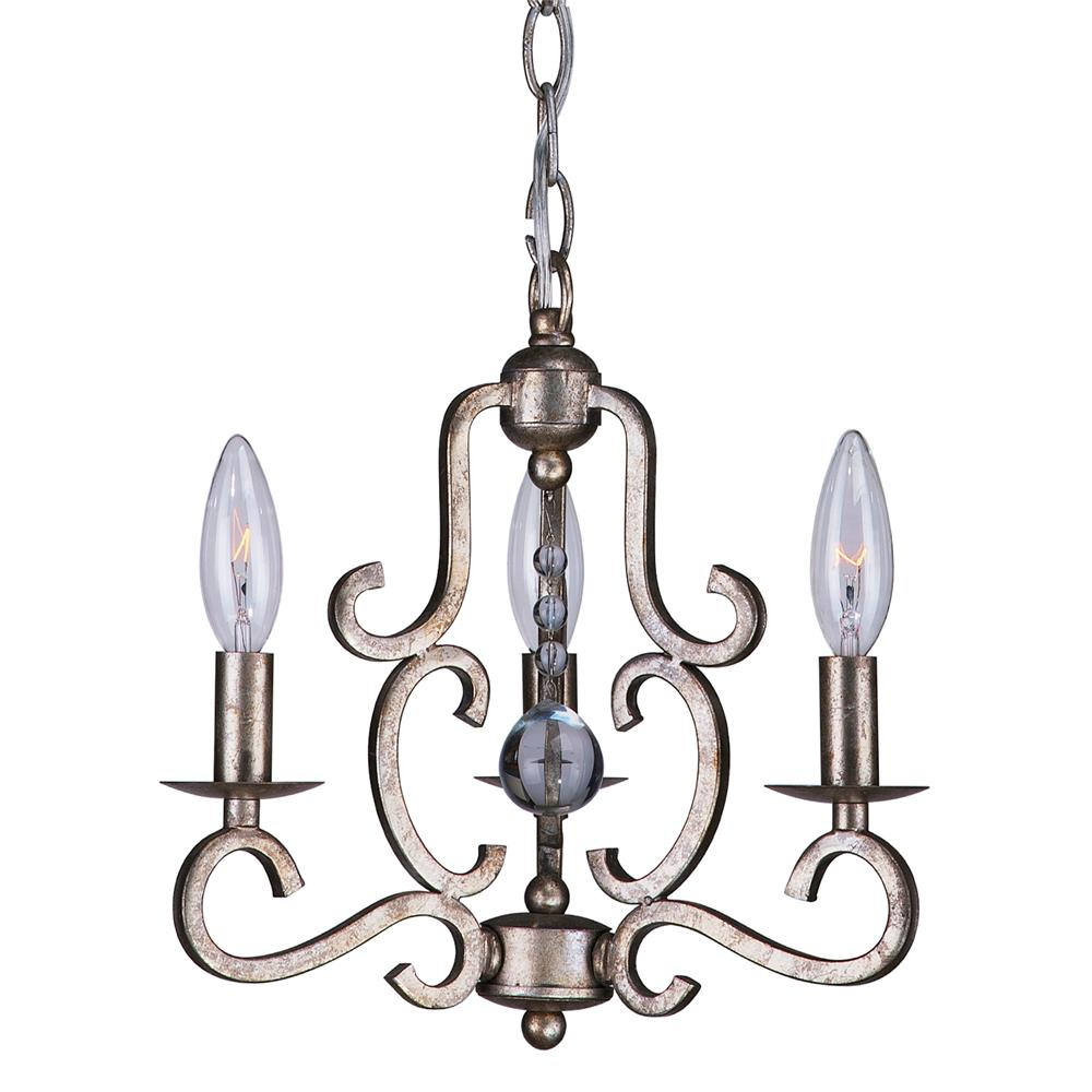 Crystorama Lighting 9347-OS Orleans 3 Light Olde Silver Mini Chandelier