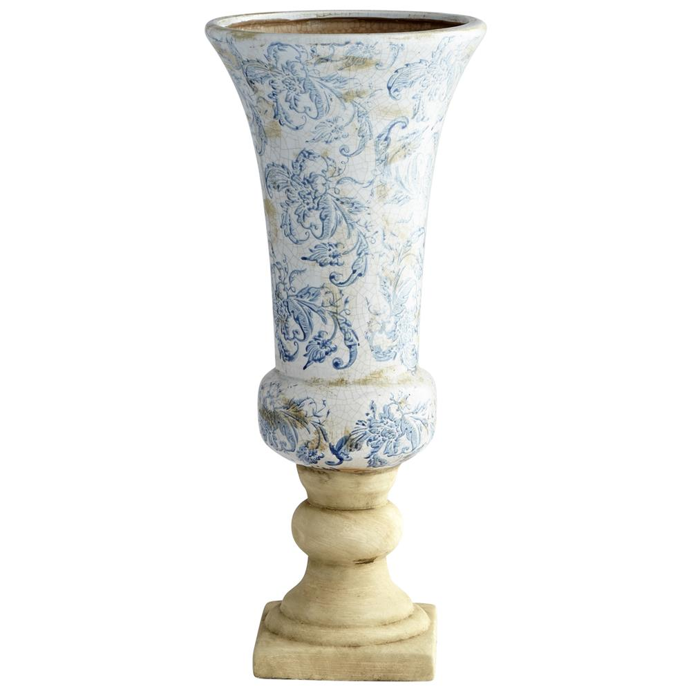 Cyan Design 07426 Large Baroque Planter in Blue and White