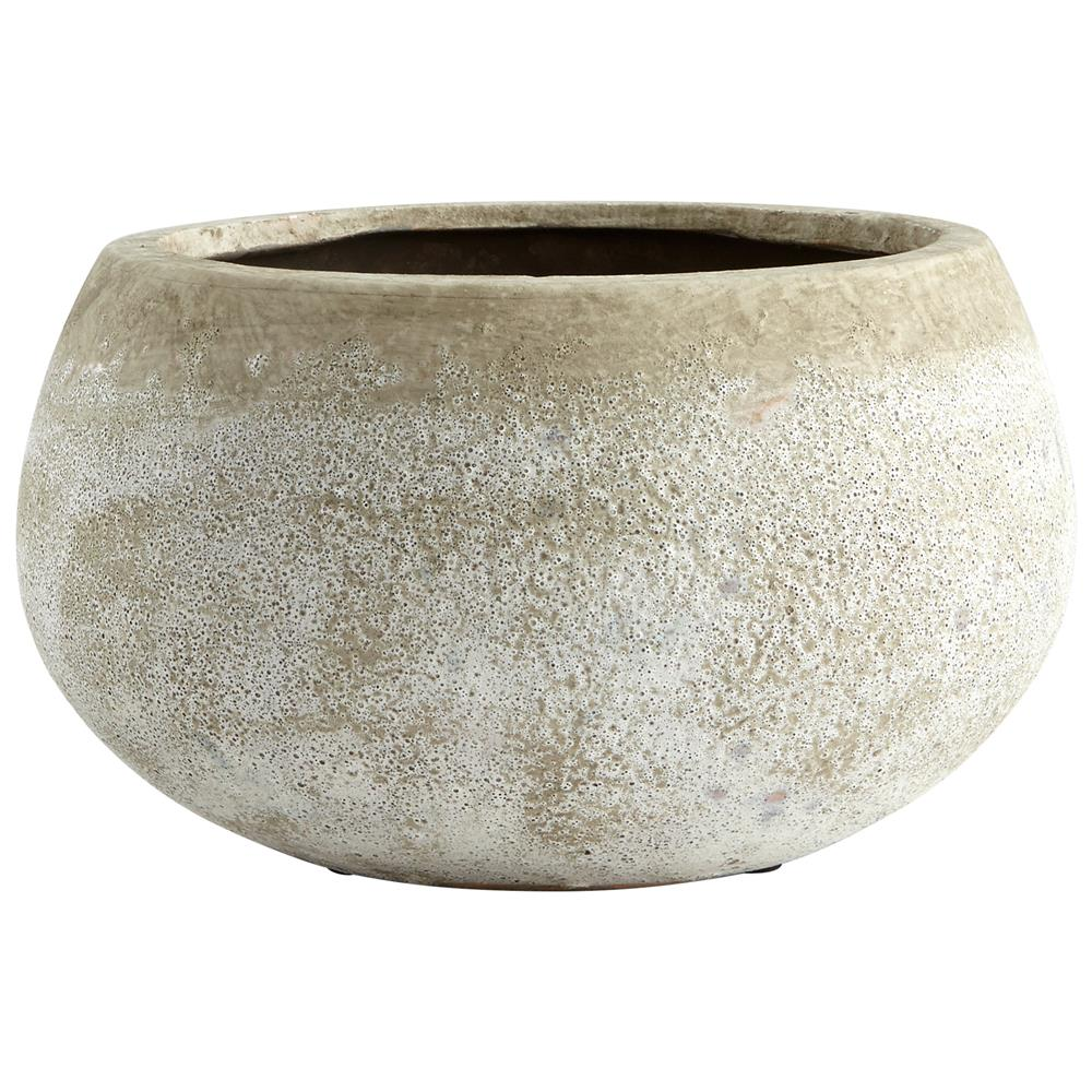 Cyan Design 08402 Small Round Stoney Planter in Ash Stone