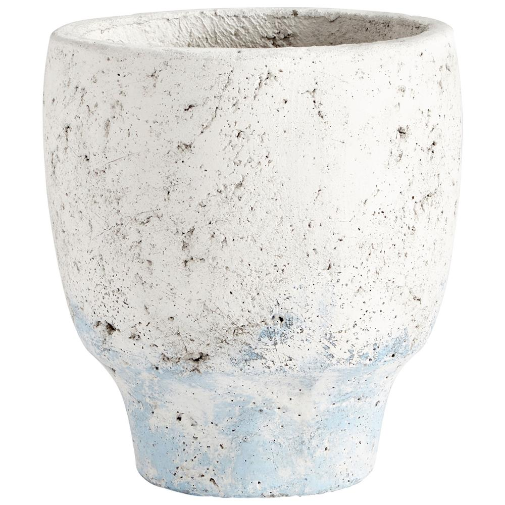 Cyan Design 09608 Small Venice Planter in Antique White Blue Accents
