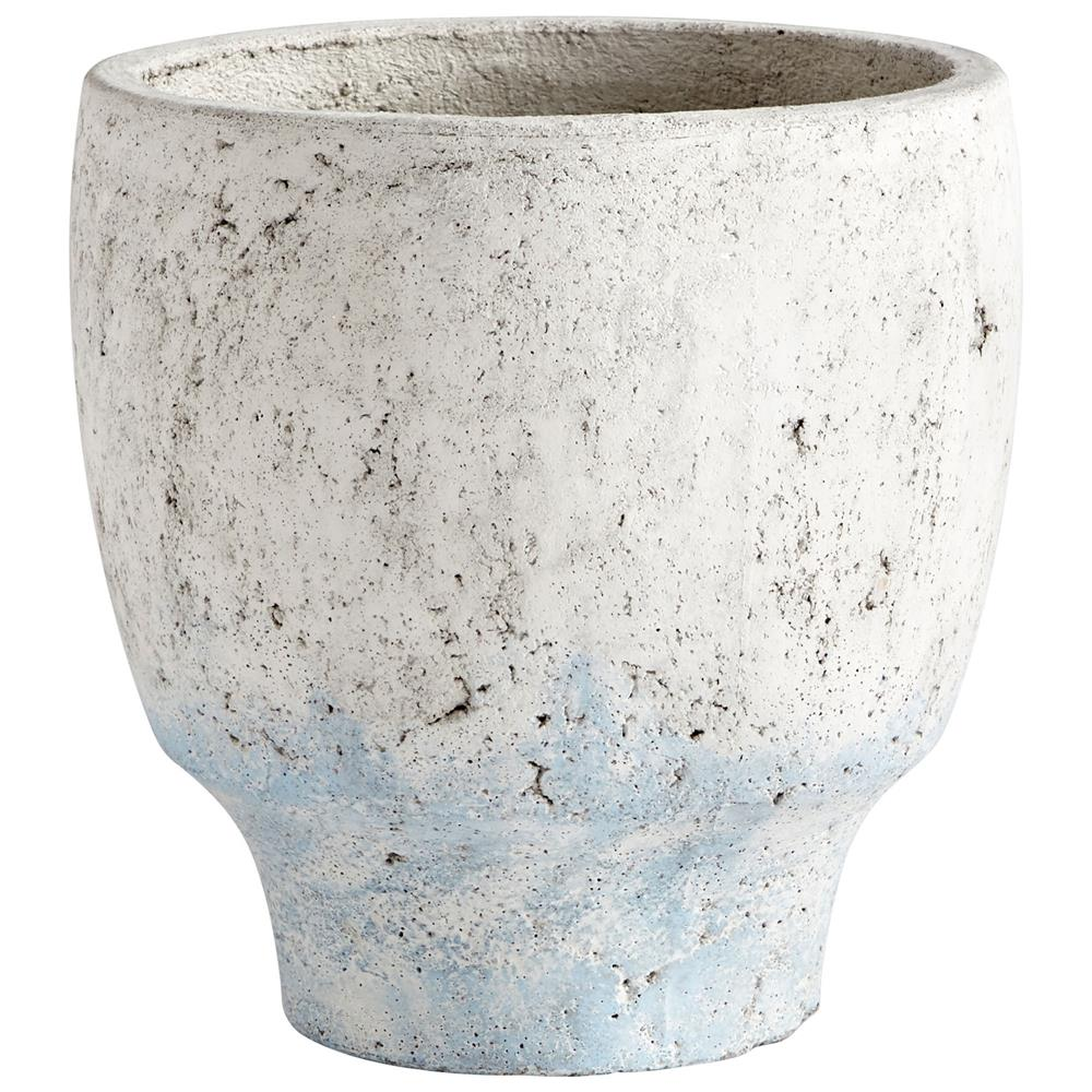 Cyan Design 09609 Medium Venice Planter in Antique White Blue Accents
