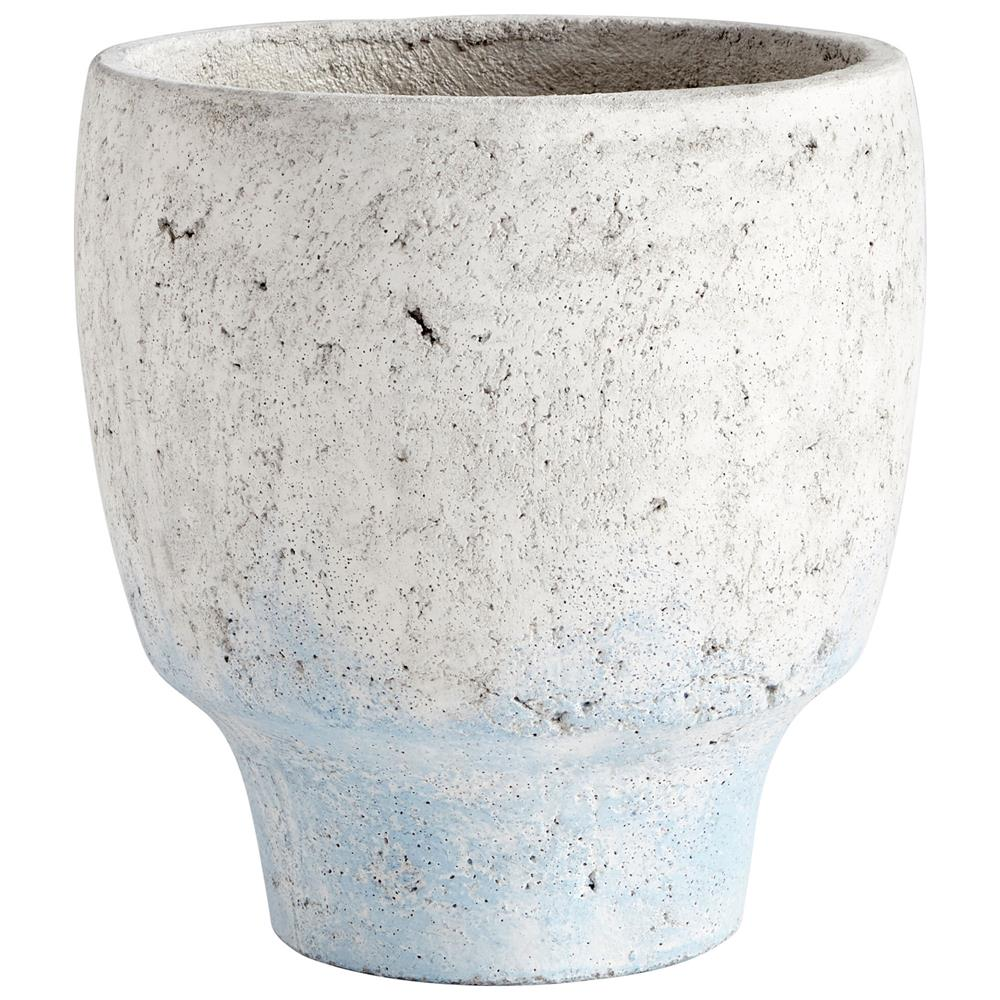 Cyan Design 09610 Large Venice Planter in Antique White Blue Accents
