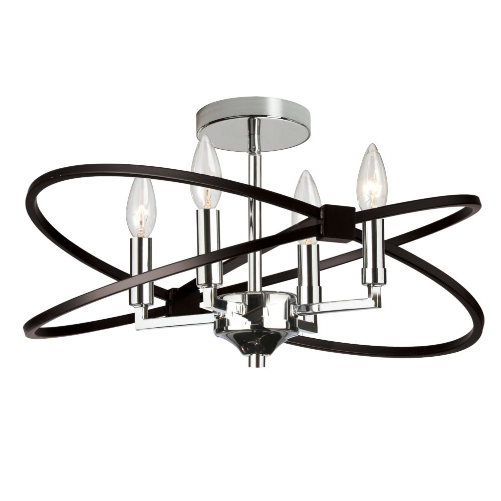 Dainolite PAL-184SF-PC-MB Paloma 4 Light Incandescent Semi Flush, Polished Chrome and Matte Black Finish