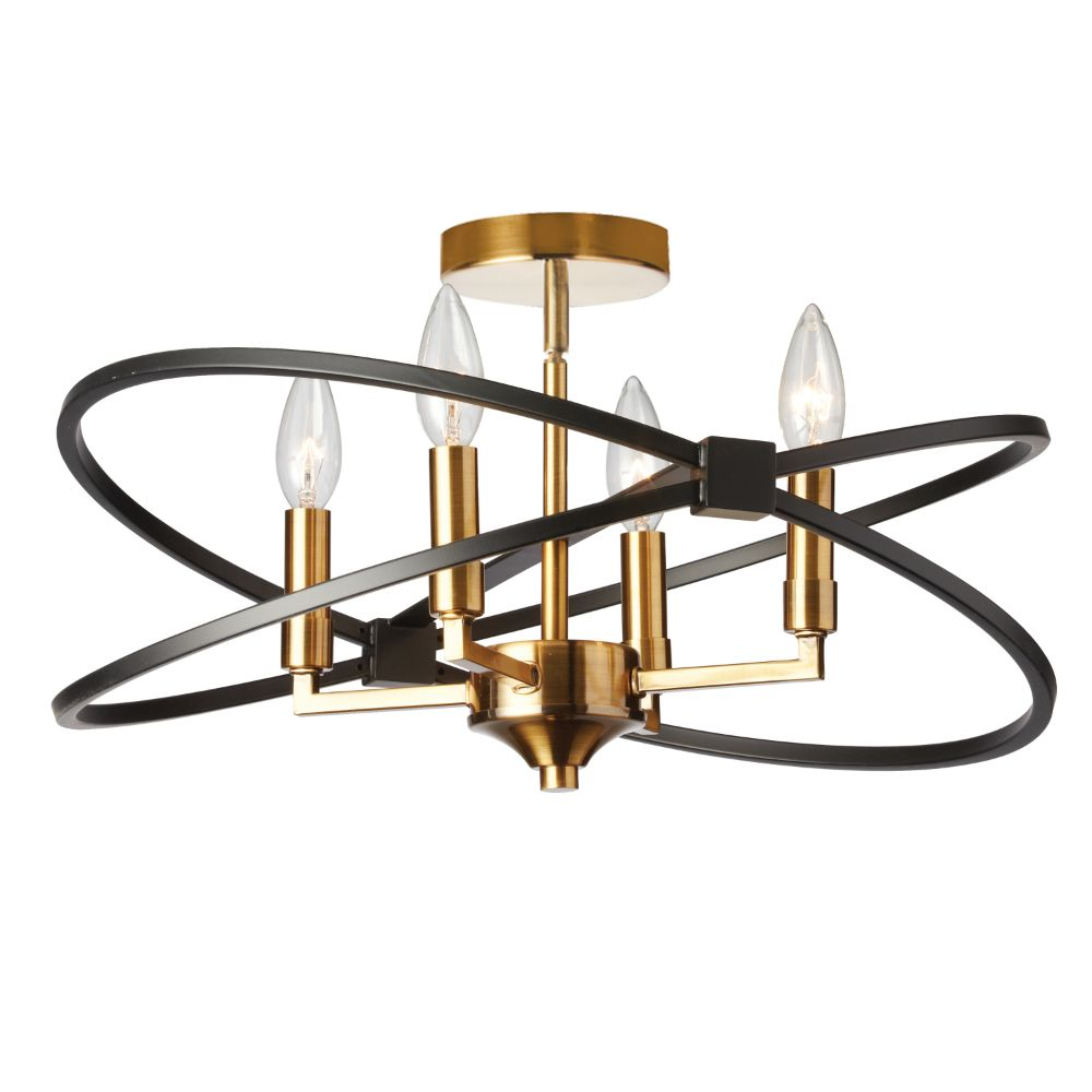 Dainolite PAL-184SF-VB-MB Paloma 4 Light Incandescent Semi Flush, Vintage Bronze and Matte Black Finish
