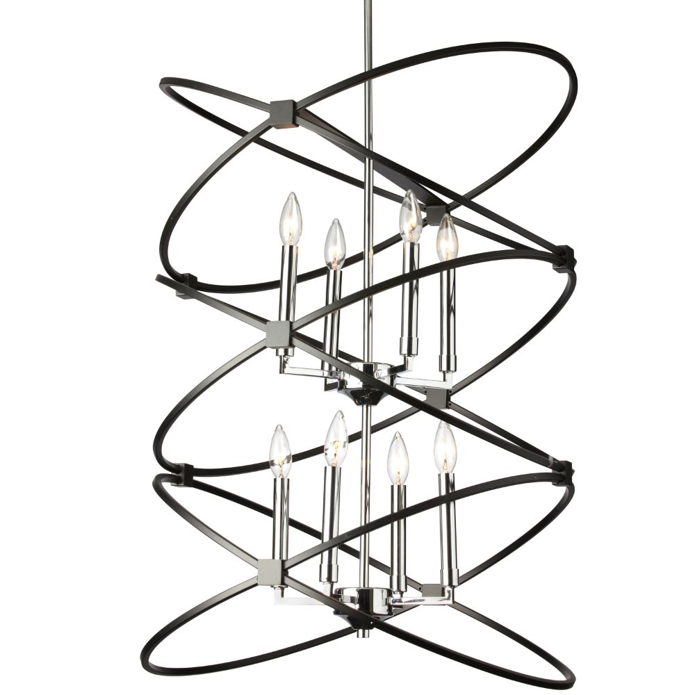 Dainolite PAL-228C-PC-MB 8LT Incandescant Chandelier, PC & MB Finish