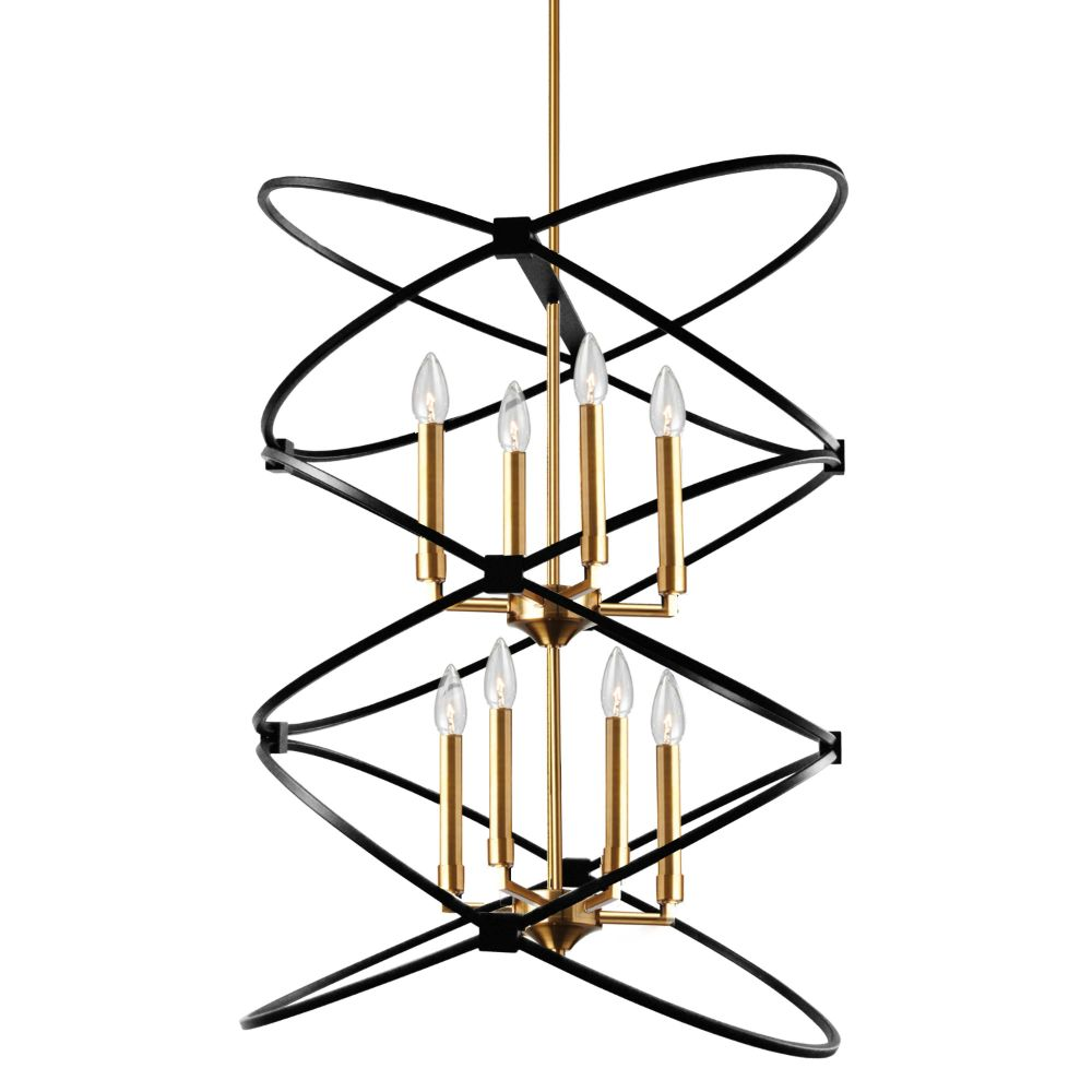 Dainolite PAL-228C-VB-MB 8LT Incandescant Chandelier, VB & MB Finish