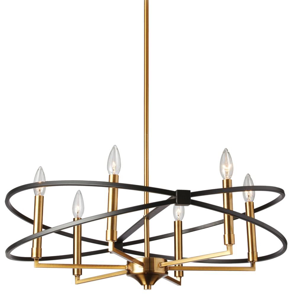Dainolite PAL-276C-VB-MB 6LT Chandelier, VB & MB Finish