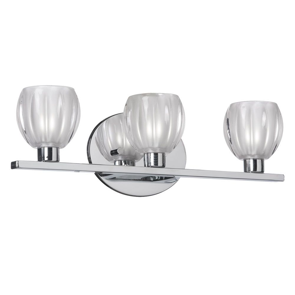 Dainolite V281-3W-PC Floral 3 Light Vanity in Polished Chrome