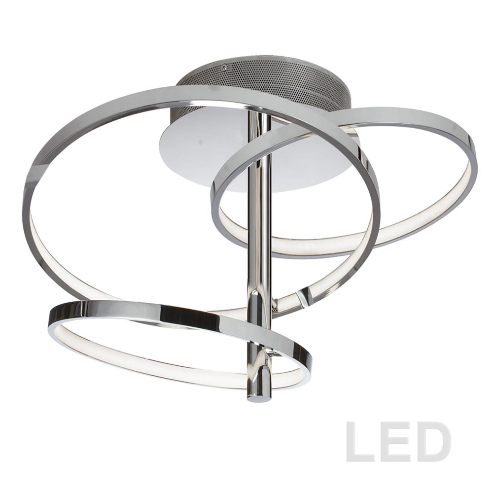 Dainolite VAL-253SF-PC 59W LED Semi Flush, Polished Chrome Finish