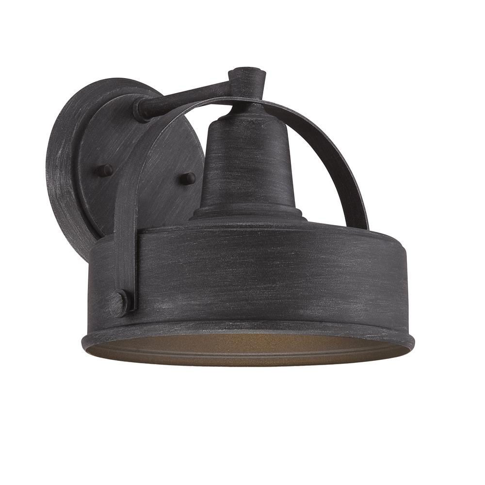 "Designers Fountain 33131-WP Portland-DS 1 Light 9"" Wall Lantern in Weathered Pewter"