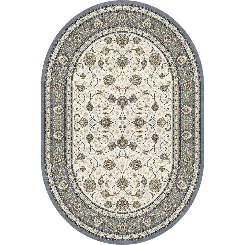 Dynamic Rugs 57120 6454 Ancient Garden 2 Ft. 7 In. X 4 Ft. 7 In. Oval Rug in Beige/Light Blue
