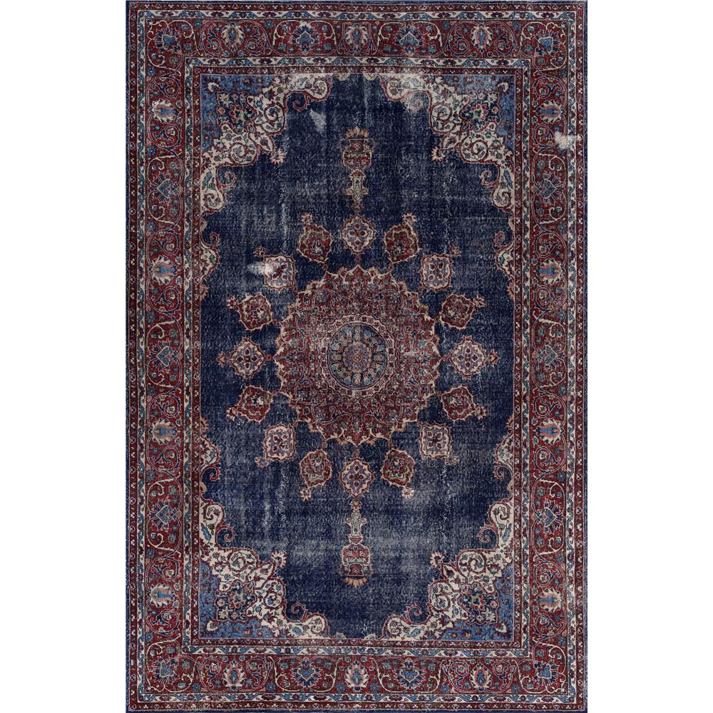 Dynamic Rugs 8886 530 Illusion 2 Ft. 1 In. X 3 Ft. 6 In. Rectangle Rug in Denim/Burgundy