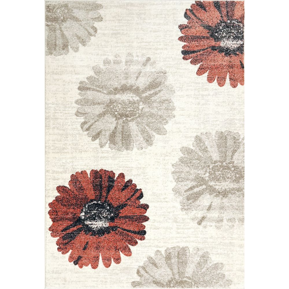 Dynamic Rugs 35009-1250 Infinity 2 Ft. X 3 Ft. 11 In. Rectangle Rug in Ivory/Red