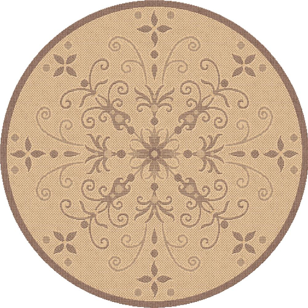 Dynamic Rugs 2583-3001 Piazza 5 Ft. 3 In. Round Rug in Nat/Brown