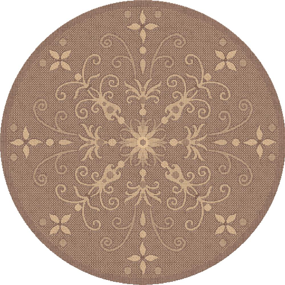 Dynamic Rugs 2583-3009 Piazza 5 Ft. 3 In. Round Rug in Brown