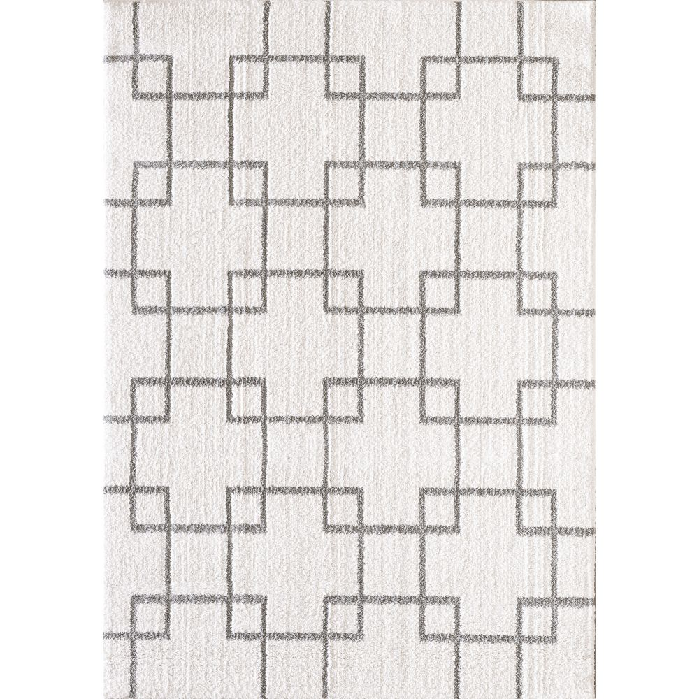 Dynamic Rugs 5901 119 Silky Shag 2 Ft. X 3 Ft. 3 In. Rectangle Rug in Ivory/Silver