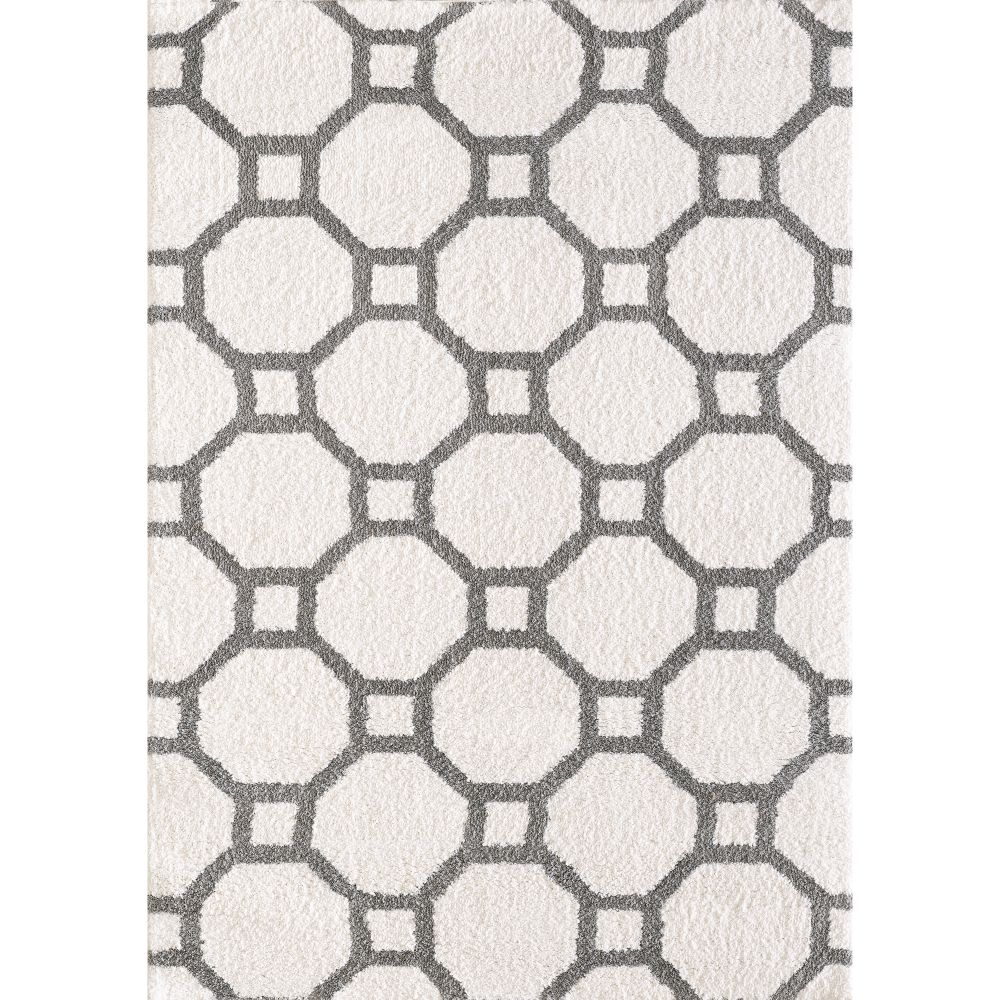 Dynamic Rugs 5903 119 Silky Shag 2 Ft. X 3 Ft. 3 In. Rectangle Rug in White/Silver