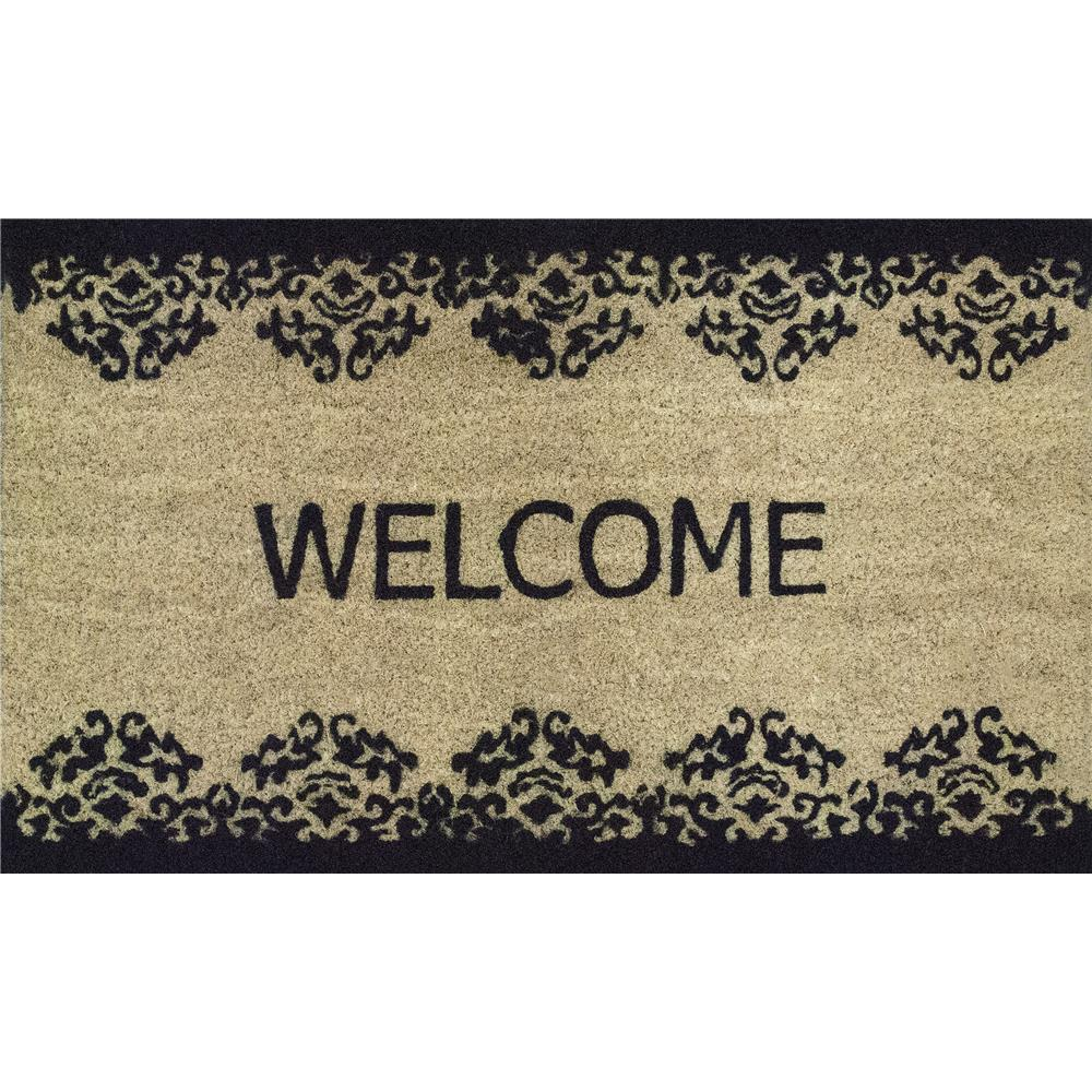 Dynamic Rugs 3460 Vale 1 Ft. 6 In. X 2 Ft. 6 In. Door Mat in Ivory/Black
