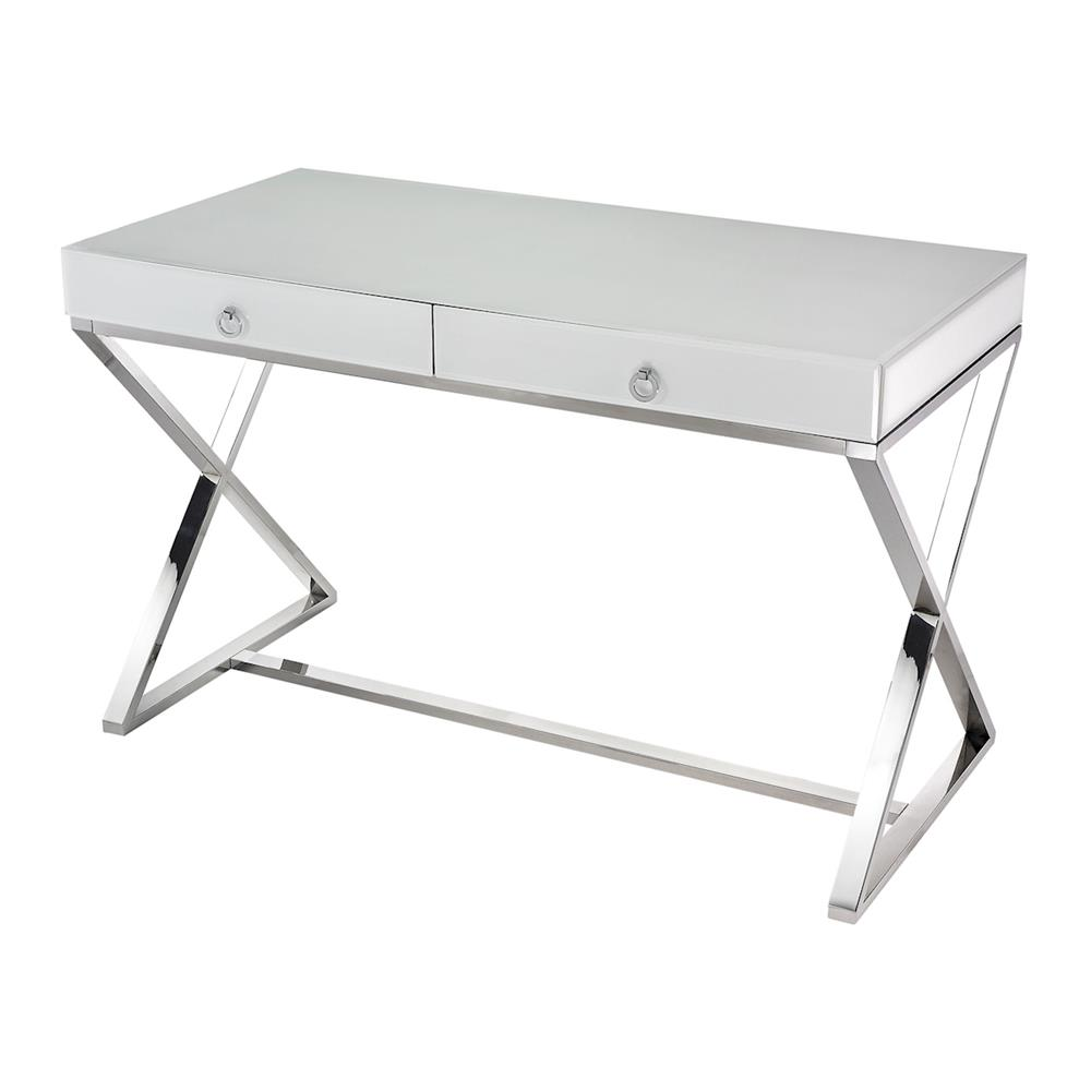 ELK Home 1141105 White Glass Desk in White / Chrome