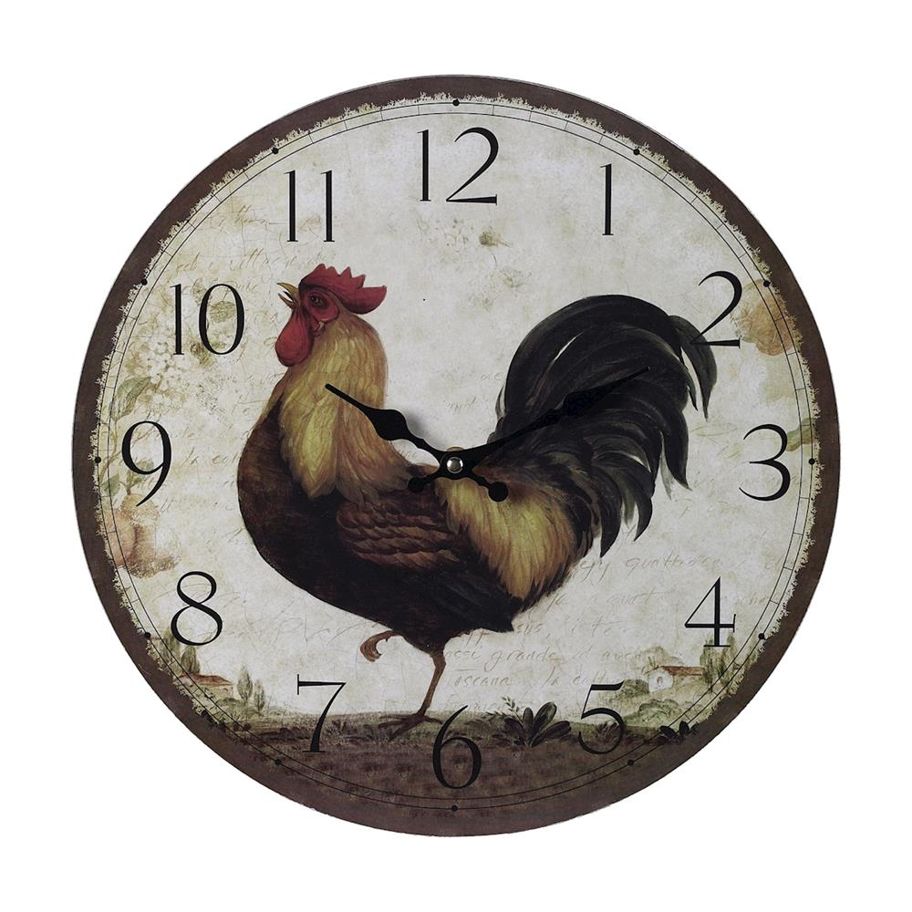 ELK Home 118-031 Sterling Rooster Wall Clock