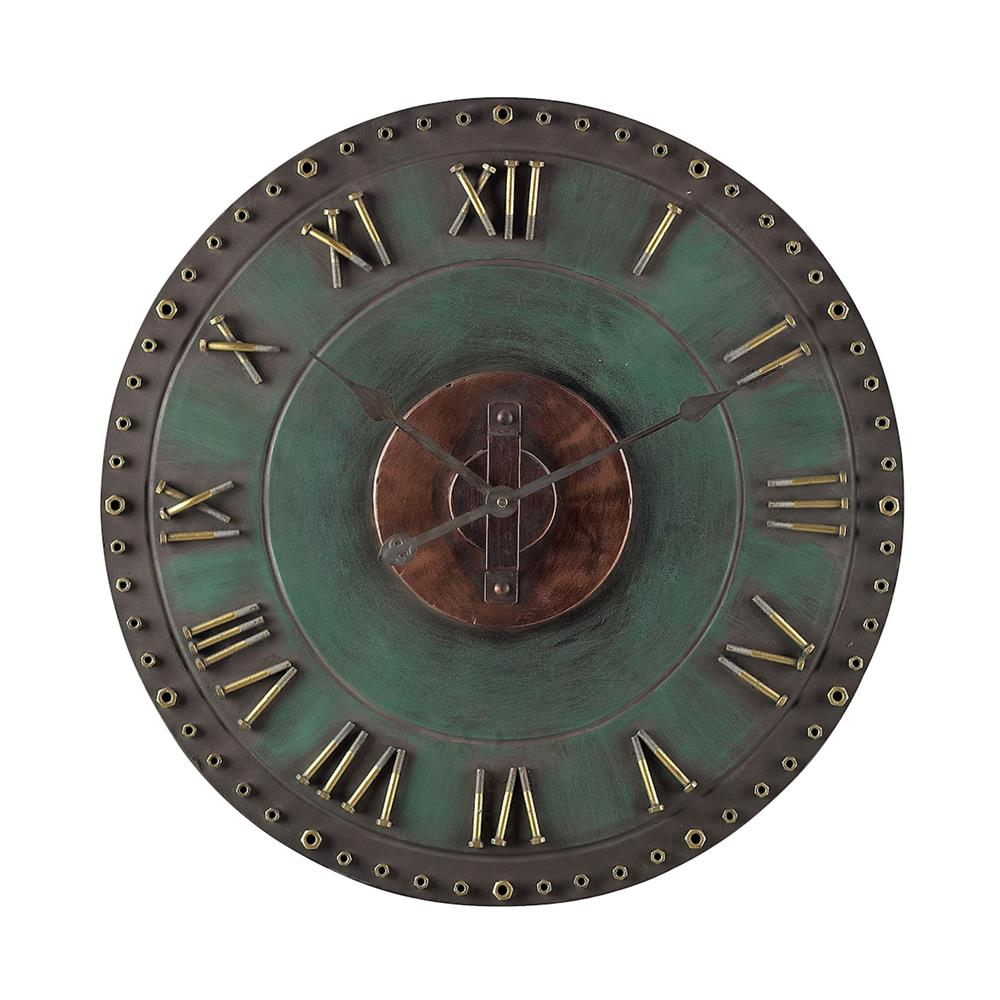 ELK Home 128-1004 Metal Roman Numeral Outdoor Wall Clock. In Marilia Verde With Gold