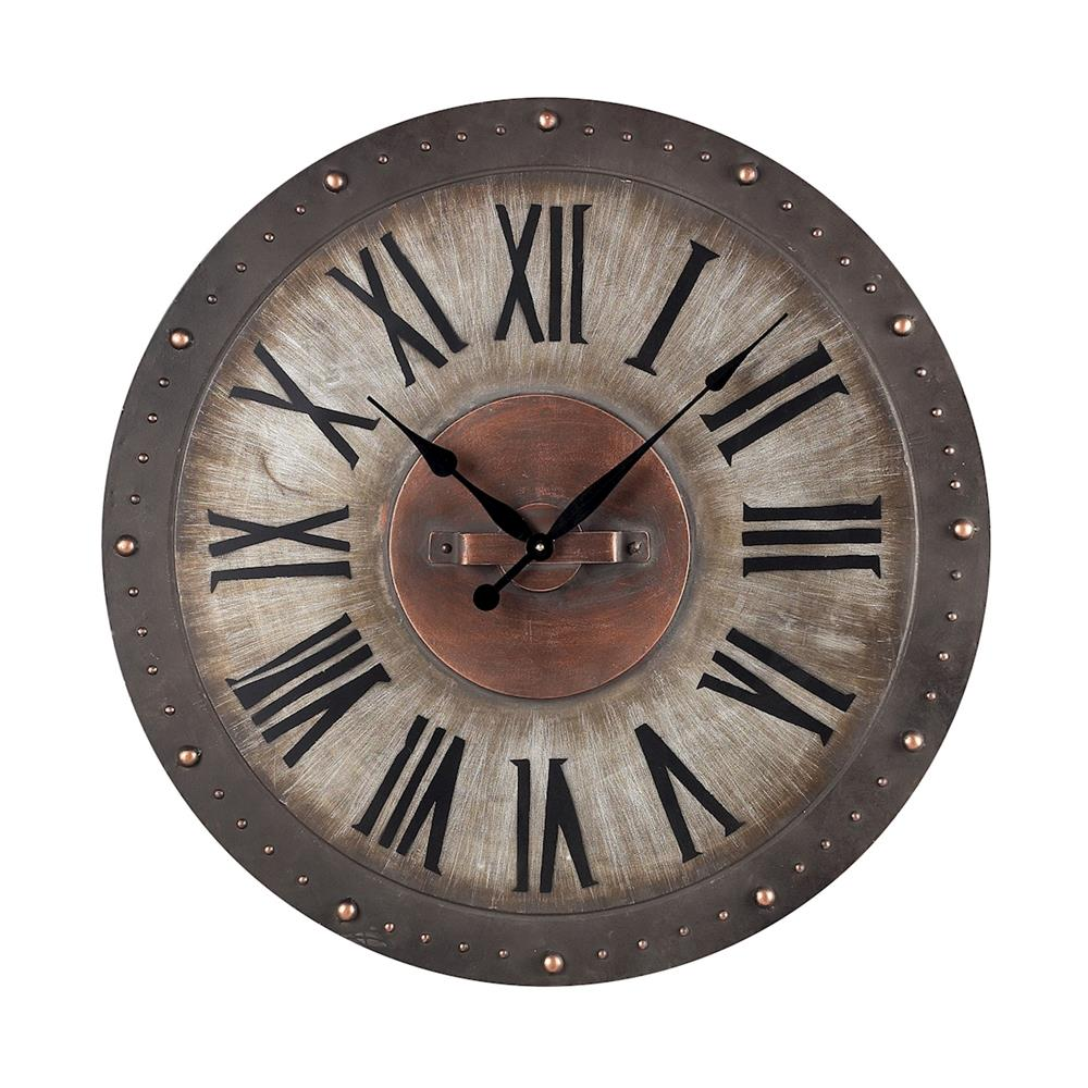 ELK Home 128-1005 Metal Roman Numeral Outdoor Wall Clock. In Jardim Grey With Copper Highlight