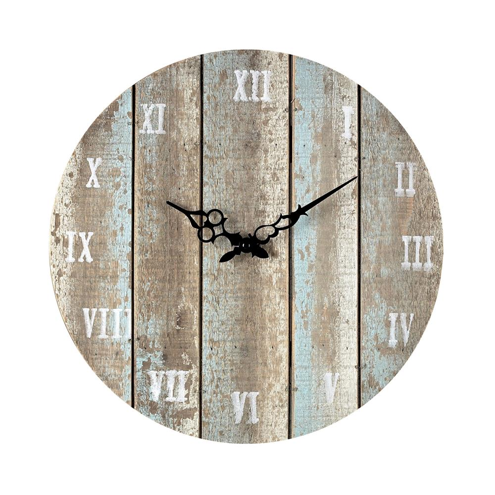 ELK Home 128-1009 Wooden Roman Numeral Outdoor Wall Clock. In Belos Light Blue