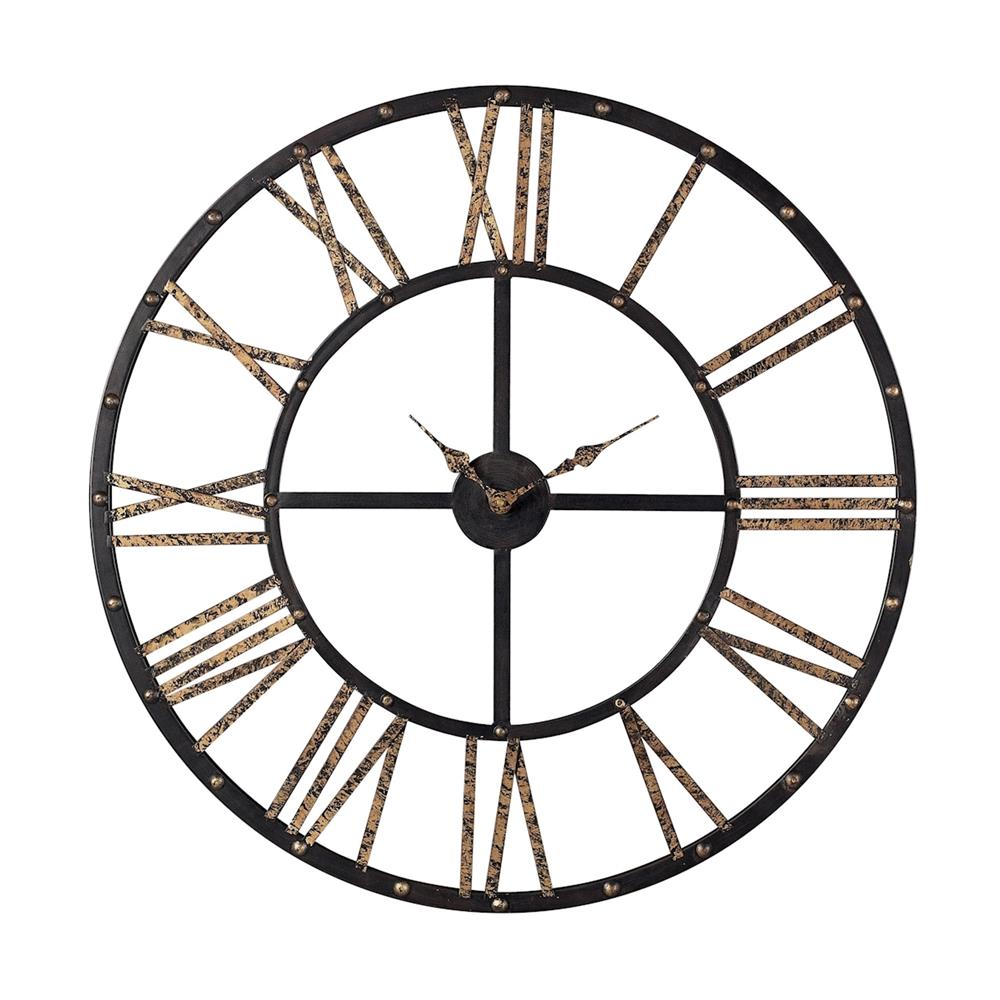 ELK Home 129-1024 Metal Framed Roman Numeral Open Back Wall Clock In Mombaca Black / Gold
