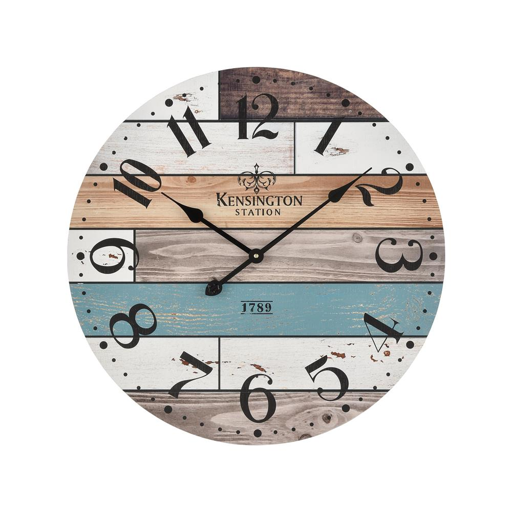 Elk Home 351-10784 Herrera Wall Clock in Natural wood and Blue in Natural Wood; Blue; White