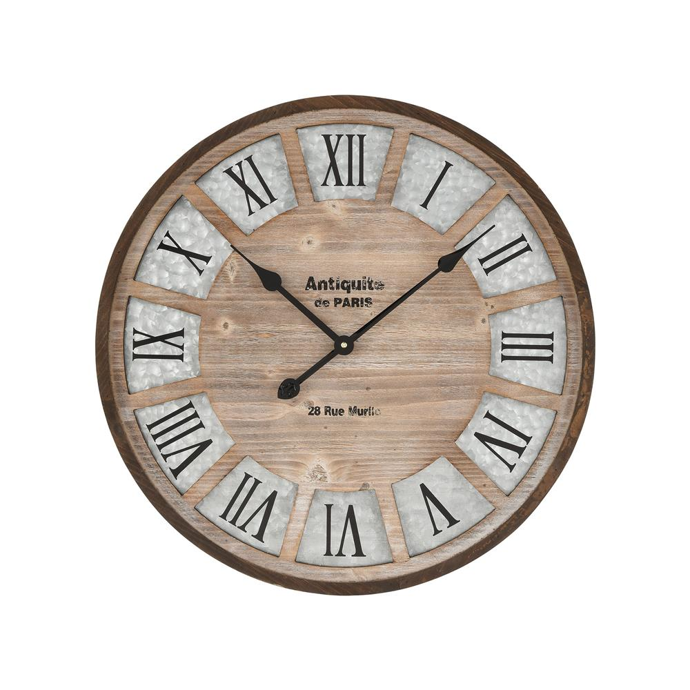 Elk Home 351-10785 Pollock Wall Clock in Brown and Galvanized Steel in Brown; Galvanized Steel