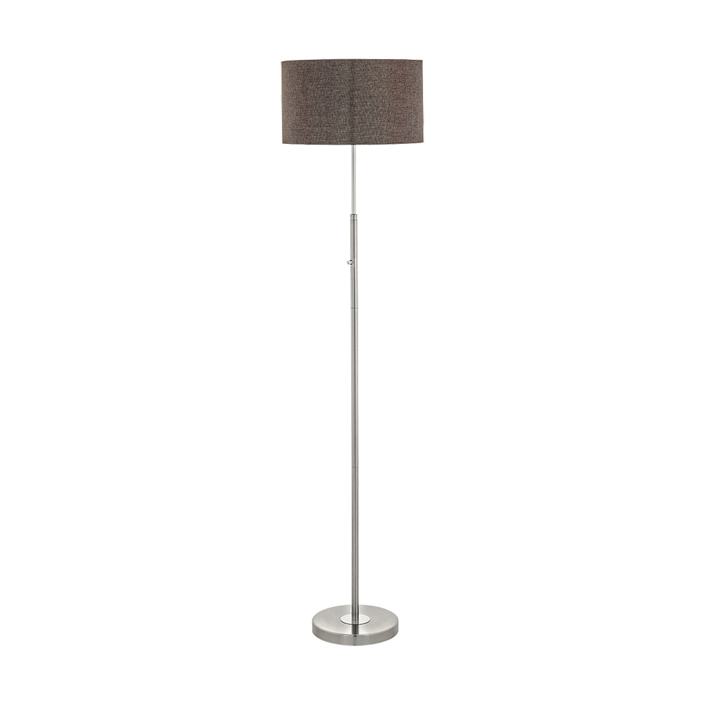 Eglo 95344A Romao 2 1 Light LED Floor Lamp in Satin Nickel / Chrome with Brown Linen Shade