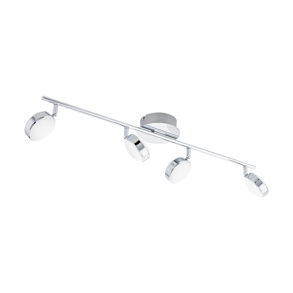 Eglo 95632A Salto 4 Light LED Track Light in Chrome with Satin Plastic Bulb Cover