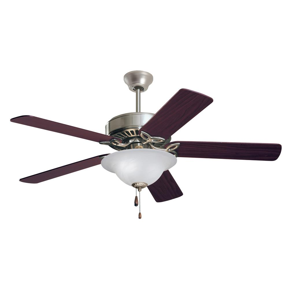 Emerson CF713BS Pro Series LED Ceiling Fan in Brushed Steel with Dark Cherry/Walnut Blades