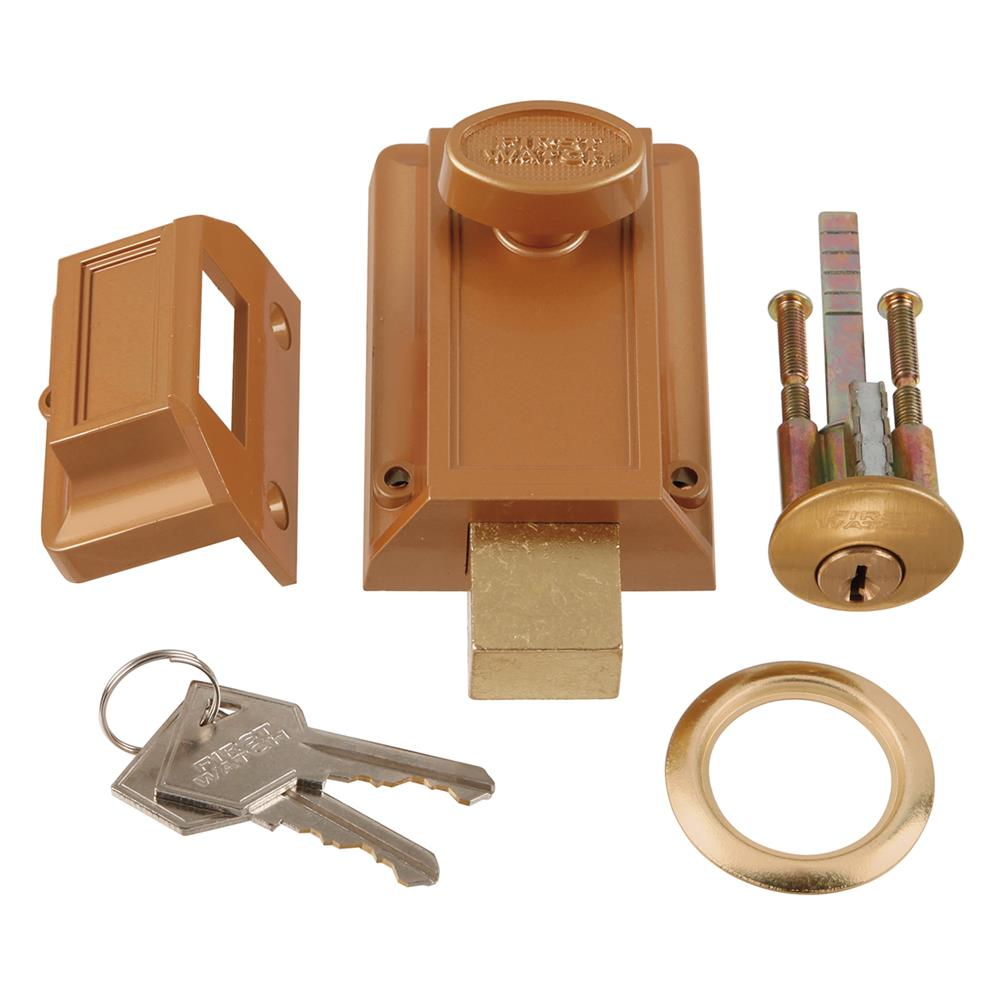 First Watch Security 1110 Night Latch & Locking Cylinder Brass Tone Finish