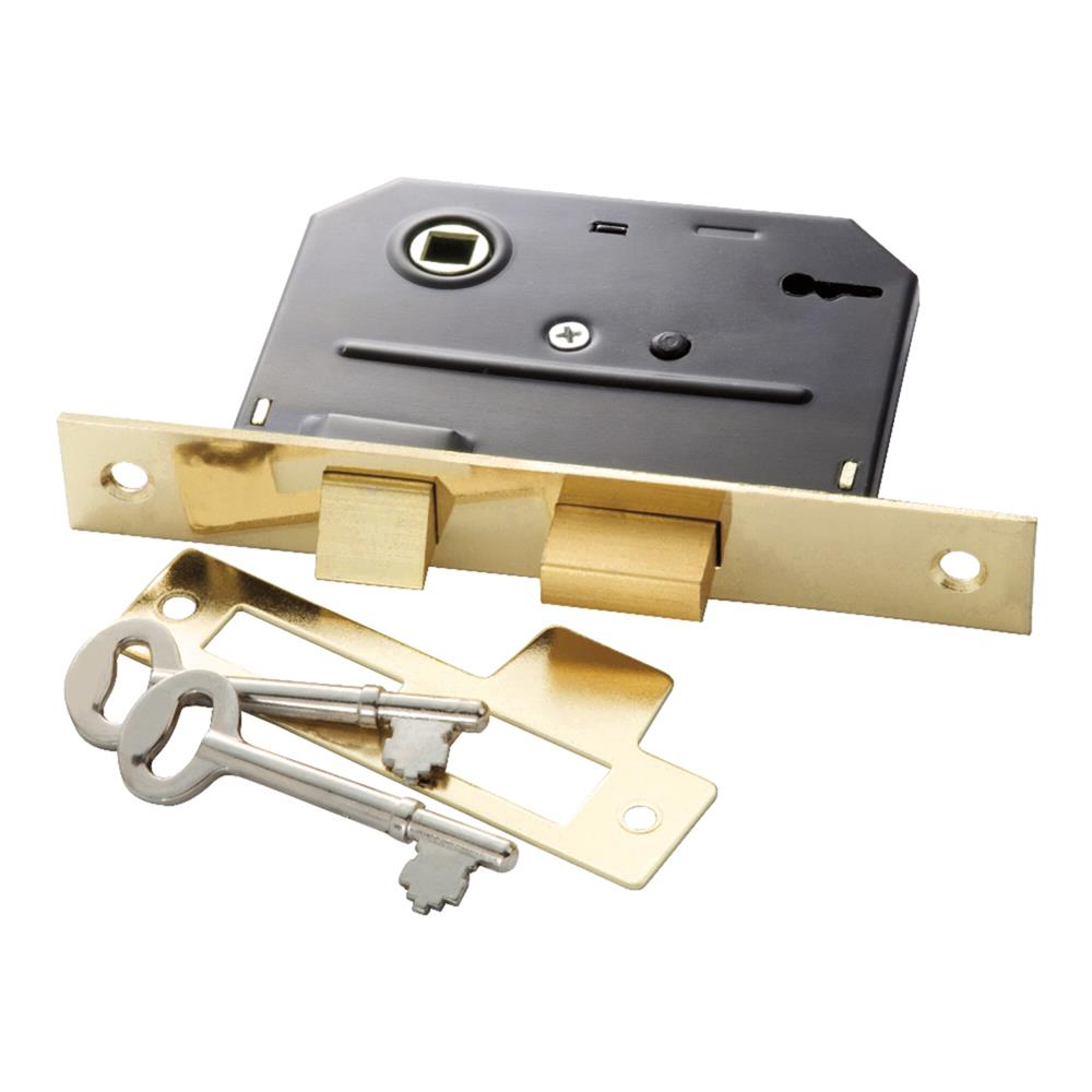 First Watch Security 1155 Bit Key Mortise Lock Polished Brass Finish