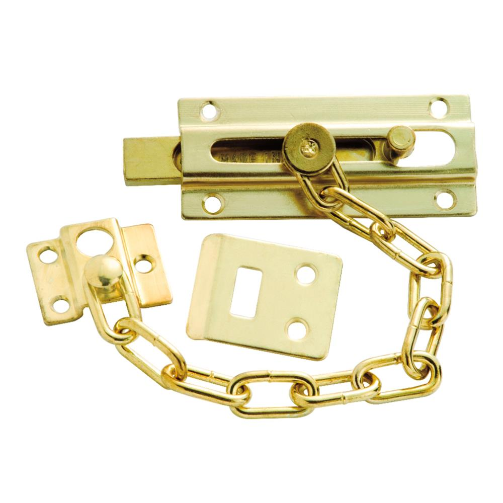 First Watch Security 1879 Chain & Bolt Door Guard Polished Brass Finish