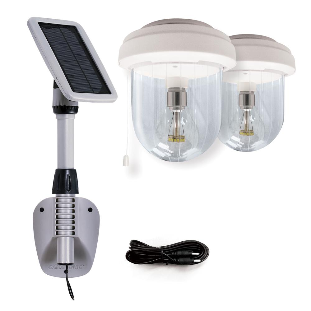 Gama Sonic 16B02 Light My Shed IV- Solar Shed Light with 2 Lights Included