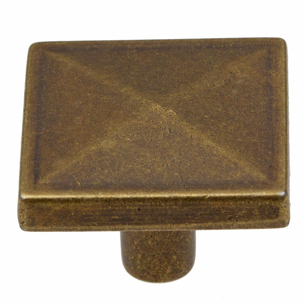 "GlideRite Hardware 5207-AB 1-1/8"" Antique Brass Square Pyramid Cabinet Knobs"