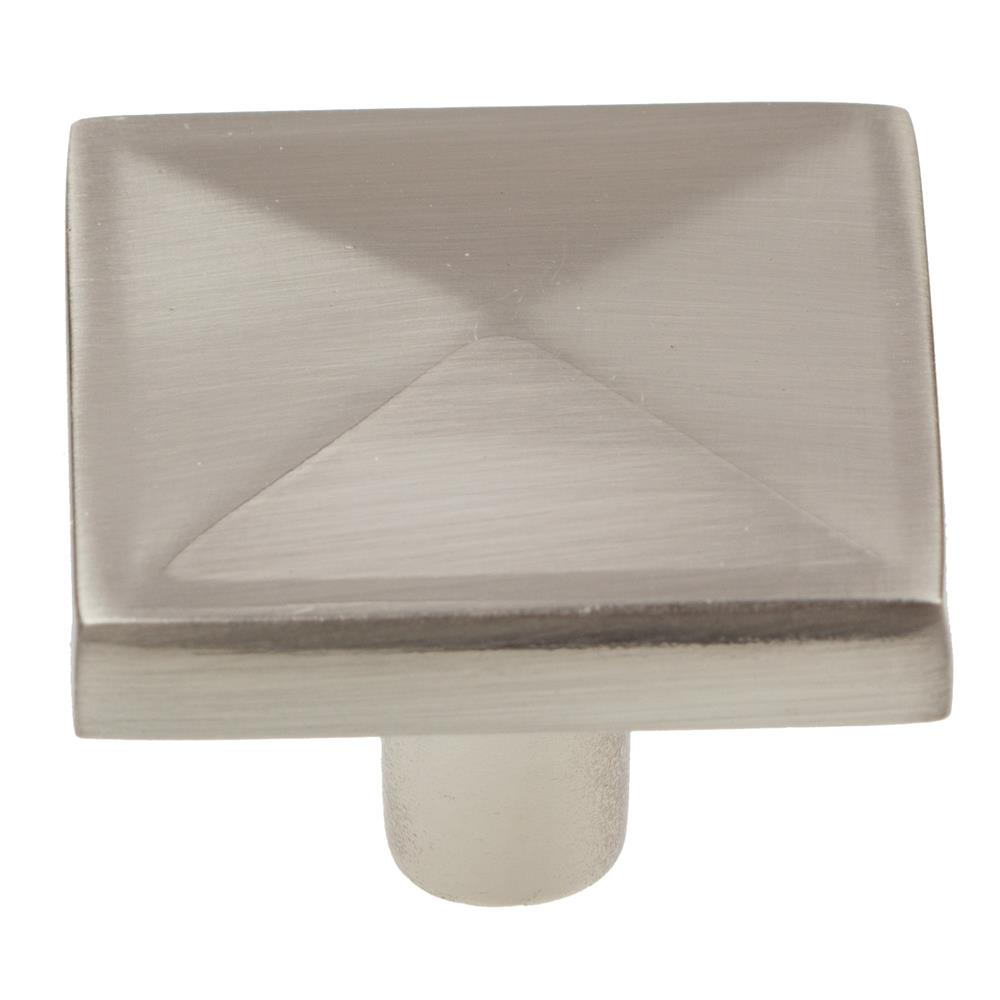 "GlideRite Hardware 5207-SN 1-1/8"" Satin Nickel Square Pyramid Cabinet Knobs"