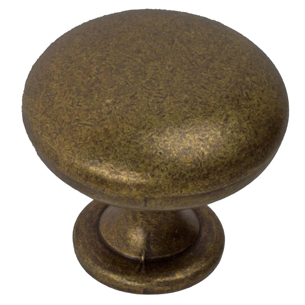 "GlideRite Hardware 5411-AB 1-1/8"" Classic Antique Brass Round Cabinet Knobs"