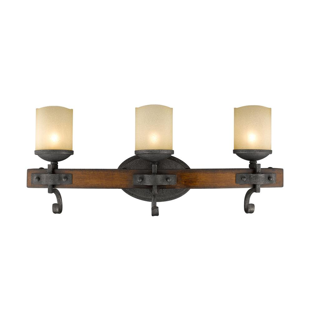 Golden Lighting 1821-BA3 BI Madera 3 Light Bath Vanity in the Black Iron finish